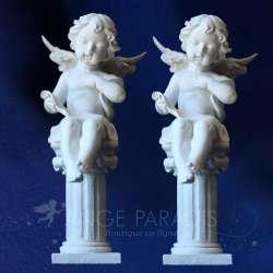 2 Estatuas de los ángeles con Columna