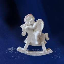 Estatuilla de Querubin con Caballo Mecedora