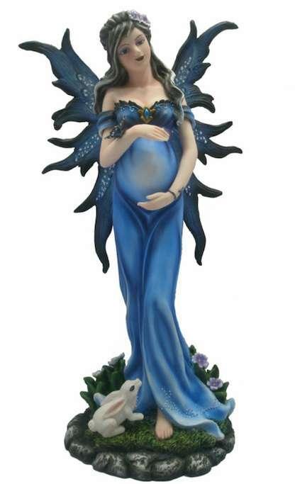 Estatua de Hada embarazada azulada - 29cm